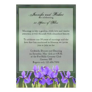 Purple Iris Wedding Anniversary Personalized Invitation