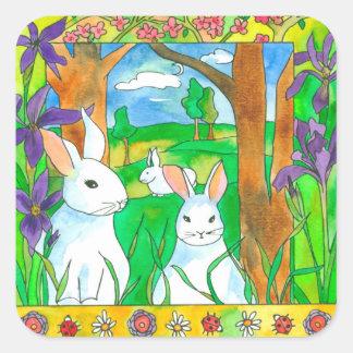 Purple Iris White Rabbits Square Sticker