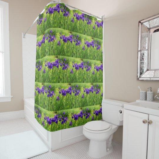 Purple Irises Botanical Bathroom Shower Curtain