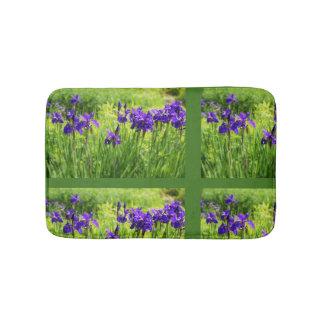 Purple Irises Botanical Floral Art Bath Matt Bath Mat