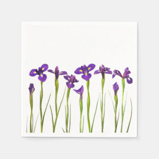 Purple Irises Flower Colorful Iris Flowers Floral Disposable Napkins