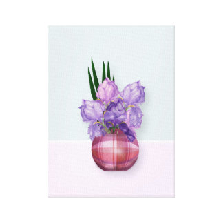 Purple Irises in a Plaid Vase Canvas Print