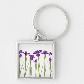 Purple Irises - Iris Flower Customized Template Silver-Colored Square Key Ring