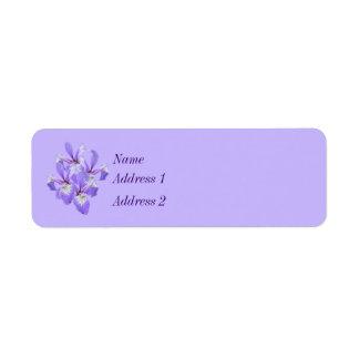 Purple Irises Touch of Spring Return Address Label