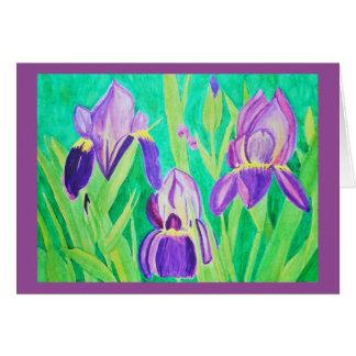 Purple irises watercolor card