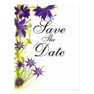 Purple Island Flowers wedding save the date Postcard