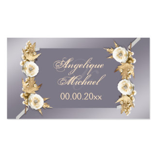 Purple ivory cream wedding engagement business cards