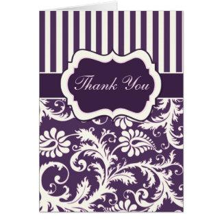 Purple, Ivory, Pink Damask Thank You Card II