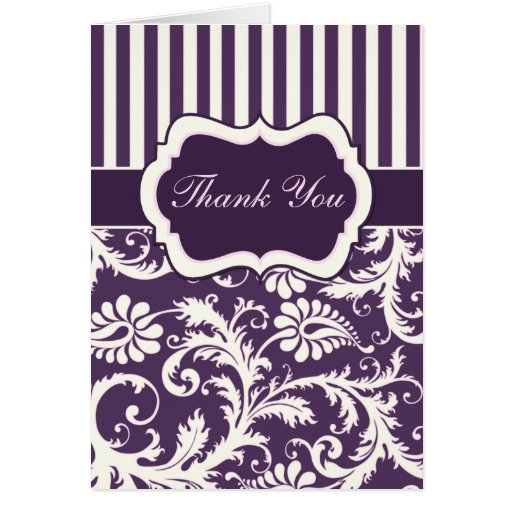 Purple, Ivory, Pink Damask Thank You Card II Greeting Cards