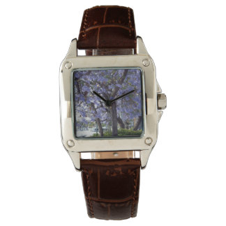 Purple_Jacarandas_River_Ladies_Brown_Leather_Watch Wristwatch