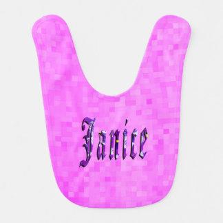 Purple Janice  Name  Logo, Pink Baby Bib