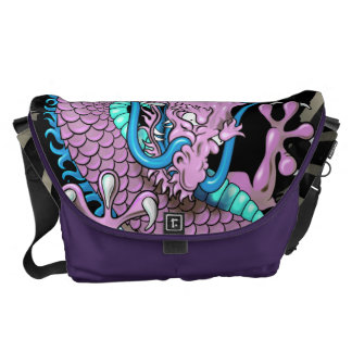 Purple Japanese Dragon Tattoo with Wind Bars Messenger Bags