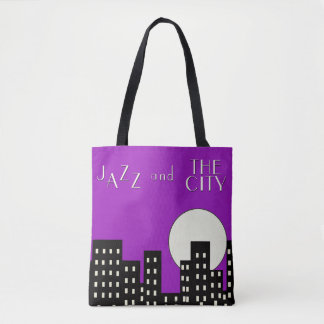 Purple Jazz and the City Tote Bag