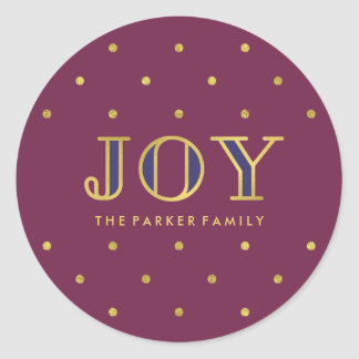 Purple Jewel Tone Christmas Joy Round Sticker