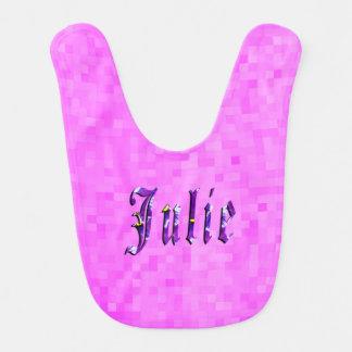 Purple Julie Name Logo, Baby Girls Pink Bib. Bib