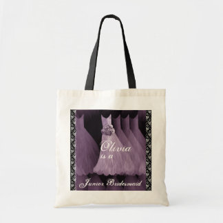 PURPLE Junior Bridesmaid Cotton Tote Bag
