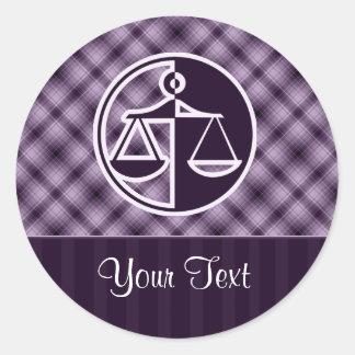 Purple Justice Scales Round Sticker