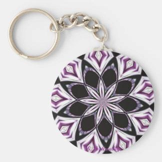 Purple Kaleidoscope Basic Round Button Key Ring