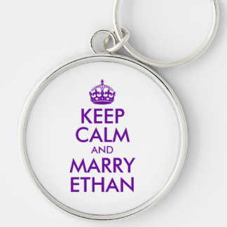 Purple Keep Calm and Marry Ethan Key Ring