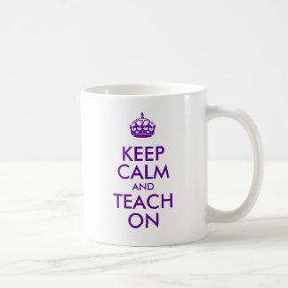 Purple Keep Calm and Teach On Coffee Mug