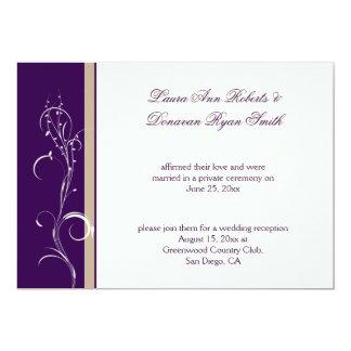 Purple Khaki Ivory Floral Swirl Post Wedding Card