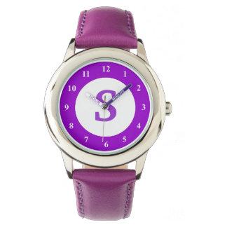 Purple kid's watch with custom monogram icon