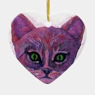 PUrple Kitten Ceramic Heart Decoration