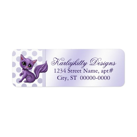 Purple Kitten on Polka Dots Return Labels