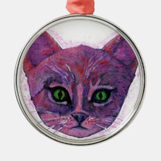 PUrple Kitten Silver-Colored Round Decoration