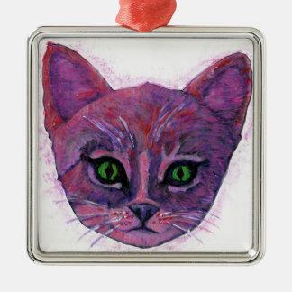 PUrple Kitten Silver-Colored Square Decoration