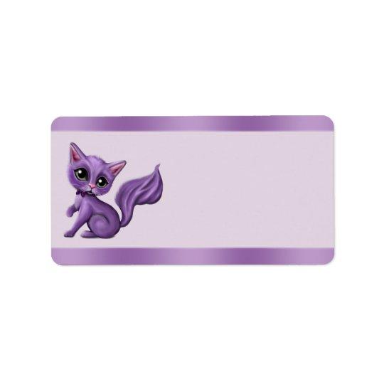 Purple Kitty Address Labels