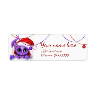 Purple Kitty and Ornaments Return Address Label