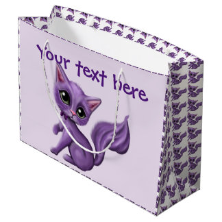 Purple Kitty Large Gift Bag