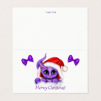 Purple Kitty Meowy Christmas Card