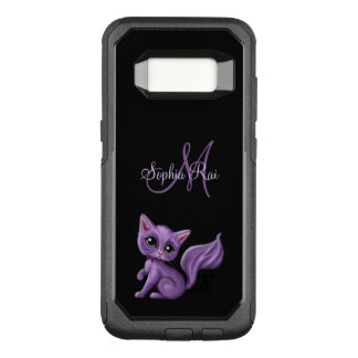 Purple Kitty Monogram OtterBox Commuter Samsung Galaxy S8 Case