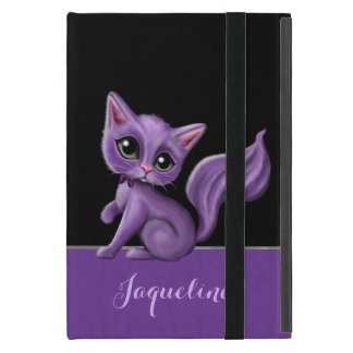 Purple Kitty on Black iPad Mini Cases