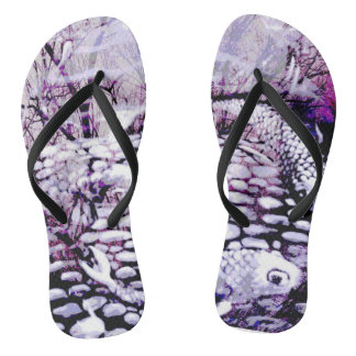 Purple Koi flip flops