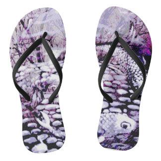 Purple Koi flip flops Thongs
