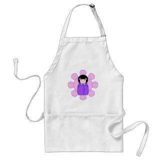 Purple Kokeshi Doll Standard Apron