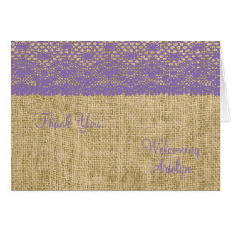 Purple Lace and Burlap Welcome Baby Card