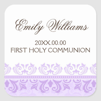 Purple lace damask first communion envelope seal square sticker