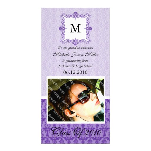 Purple Lace Damask Initial Graduation Photo Card