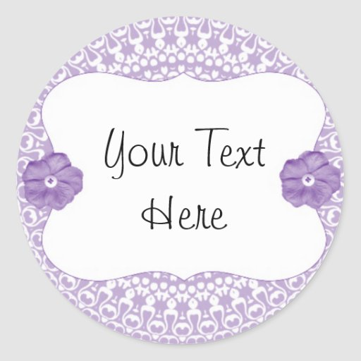 Purple Lace Flower Cup cake Toppers/Labels/Sticker