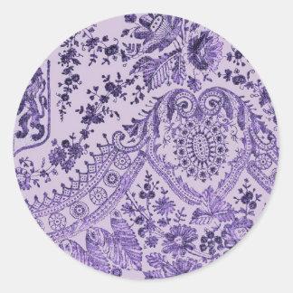Purple Lace Flowers Round Sticker