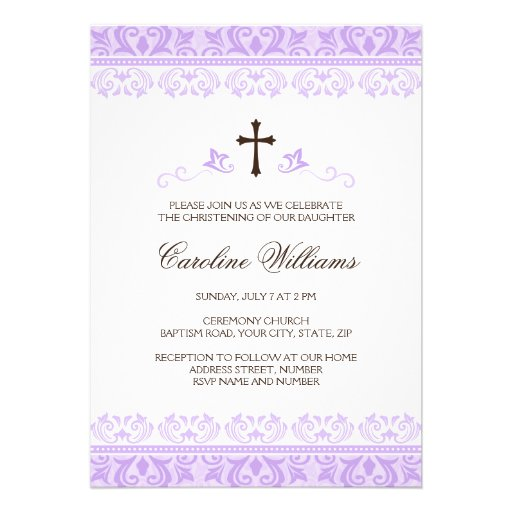 Purple lace girls baptism or christening personalized announcement