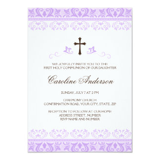 Purple lace girls first communion confirmation 11 cm x 16 cm invitation card