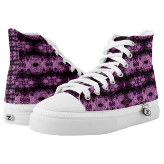 Purple Lace Hi Top Printed Shoes