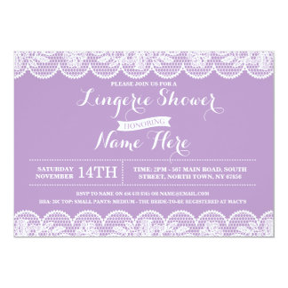 Purple Lace Lingerie Bridal Shower Invitation
