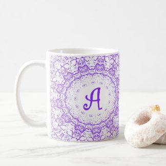 Purple lace Monogram mug