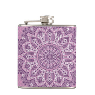 Purple Lace Pattern Hip Flask